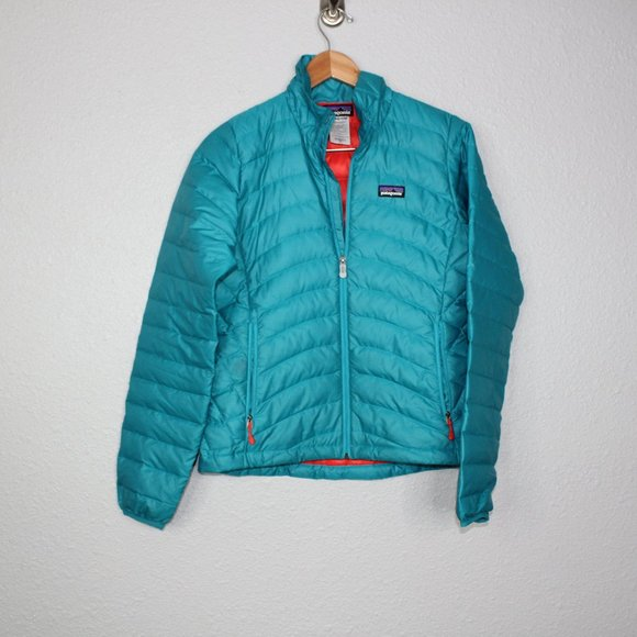 Patagonia Teal Down Puffer Sweater Jacket sz XS